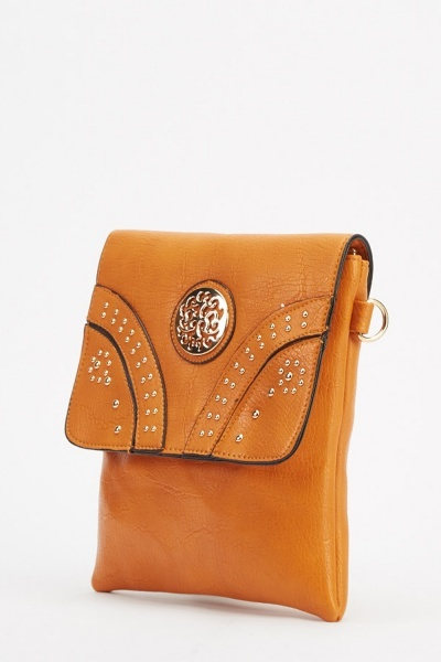 Studded Front Faux Leather Crossbody Bag