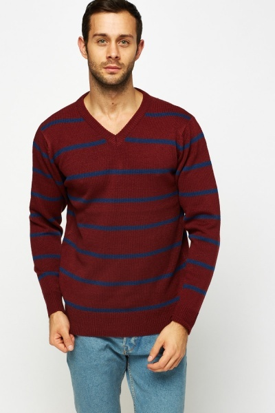 V-Neck Striped Jumper