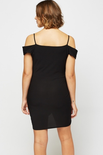 Wrapped Cut Out Shoulder Dress