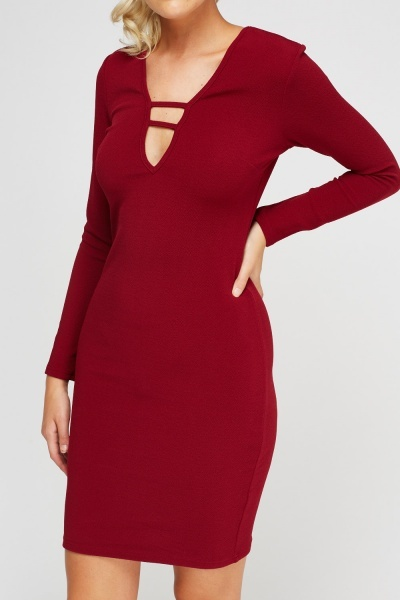Detailed Neck Textured Bodycon Dress