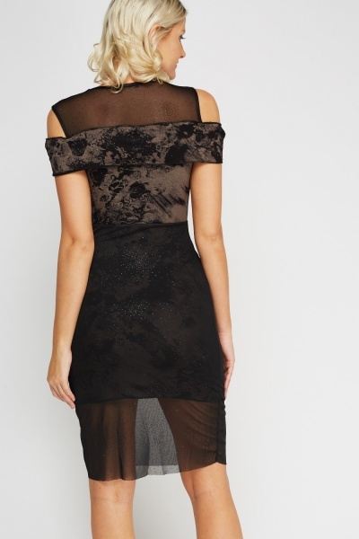 Lace Insert Contrast Dress
