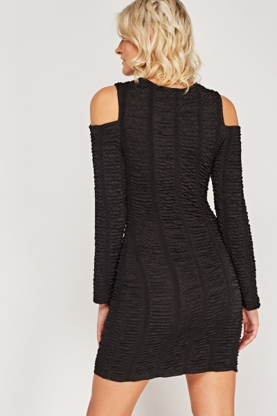 Ruched Cut Out Shoulder Dress