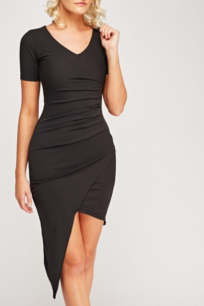 Ruched Front Asymmetric Hem Bodycon Dress