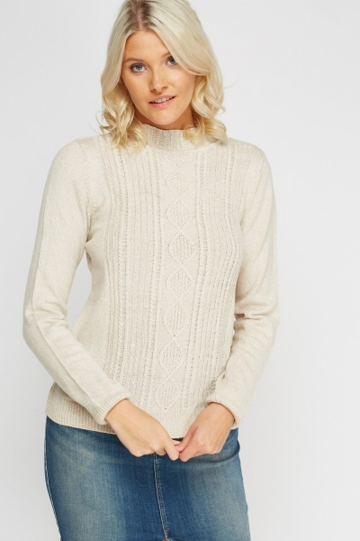 Beige Cable Knit High Neck Jumper