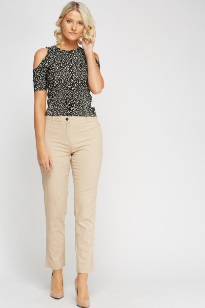 Beige Straight Leg Jeggings