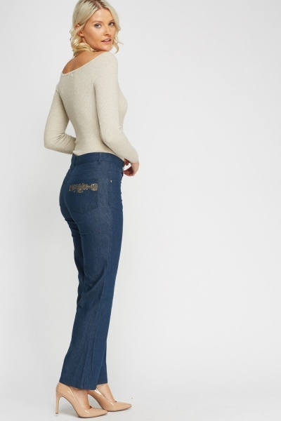 Detailed Back Pocket Jeans