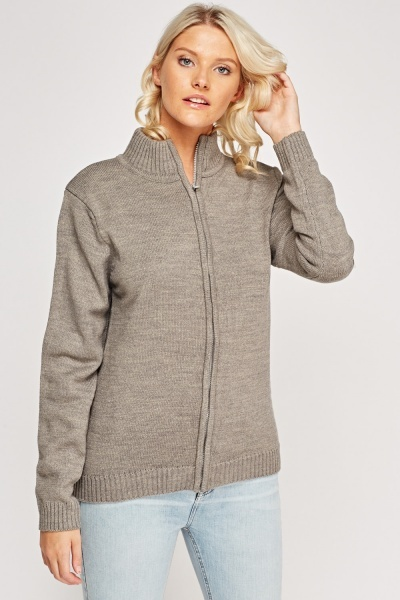 Ribbed Trim Knitted Cardigan
