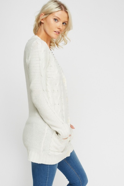 V-Neck Cable Knit Cardigan