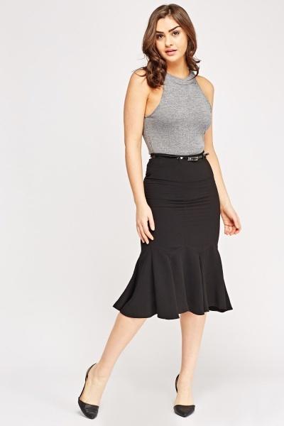 Peplum Hem Belted Skirt