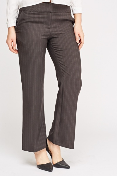 Wide Leg Pinstripe Formal Trousers