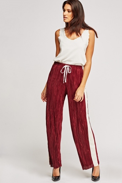 Insert Contrast Pleated Wide Leg Trousers