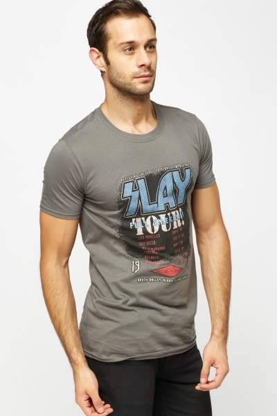 Logo Printed Grey T-Shirt