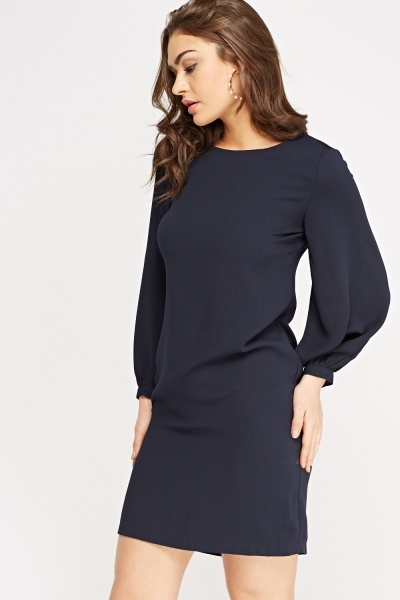 Long Sleeve Shift Basic Dress