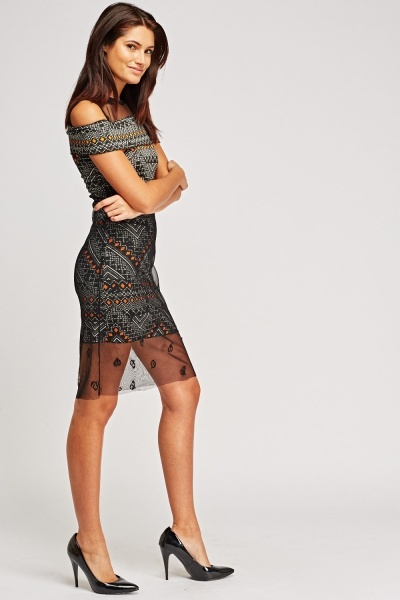 Mesh Overlay Printed Midi Dress