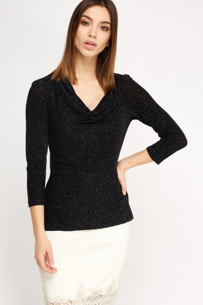 Cowl Neck Glitter Top