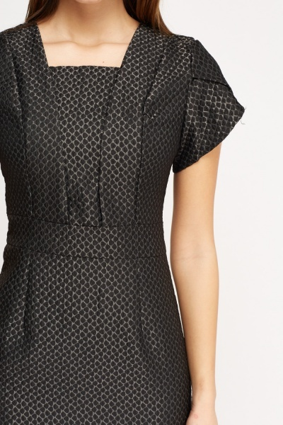Embossed Short Sleeve Pencil Dress