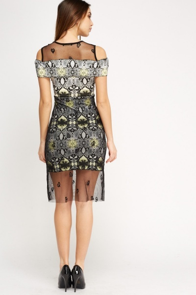 Mesh Overlay Mock Croc Printed Dress