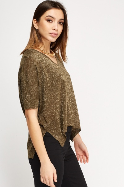 Metallic Insert Cut Out Back Top