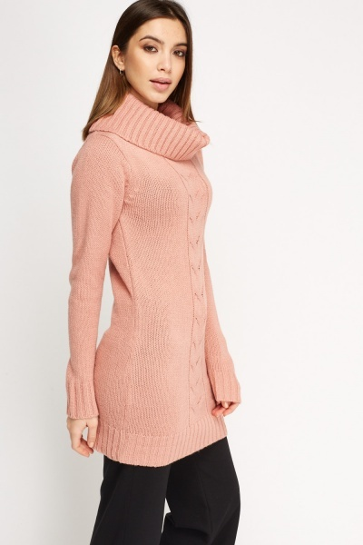 Turtle Neck Longline Knitted Jumper