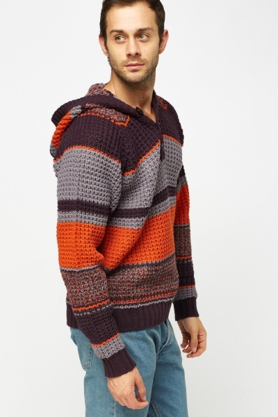 Colour Block Hooded Jumper