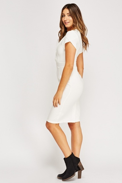 Detailed Bodice White Pencil Dress