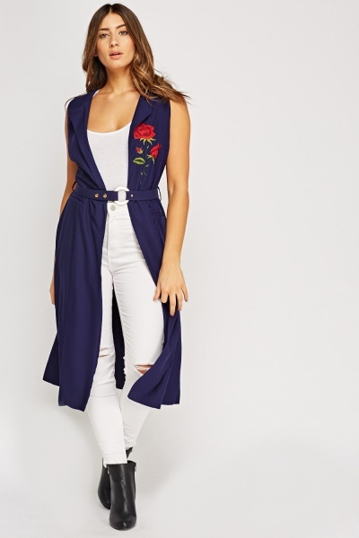 Embroidered Long Gilet