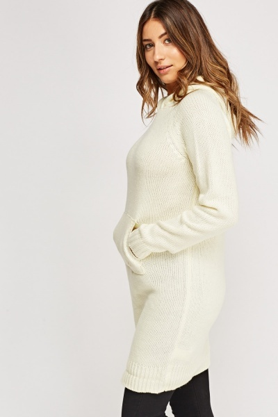 Hooded Knitted Longline Jumper
