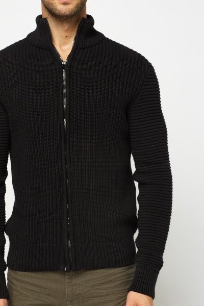 Zip Up Ribbed Cardigan