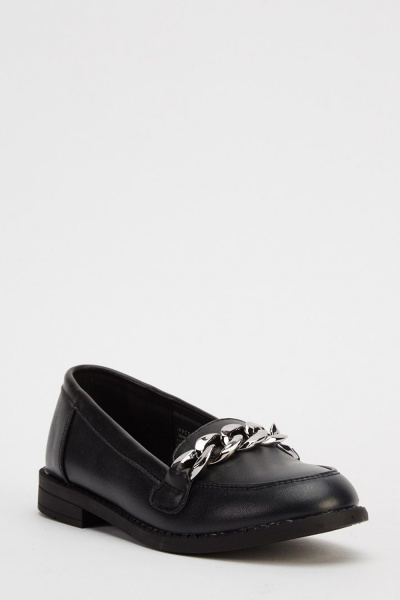 Chain Front Junior Black Shoes