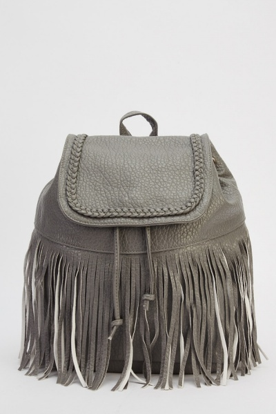 Fringed Textured Faux Leather Backpack