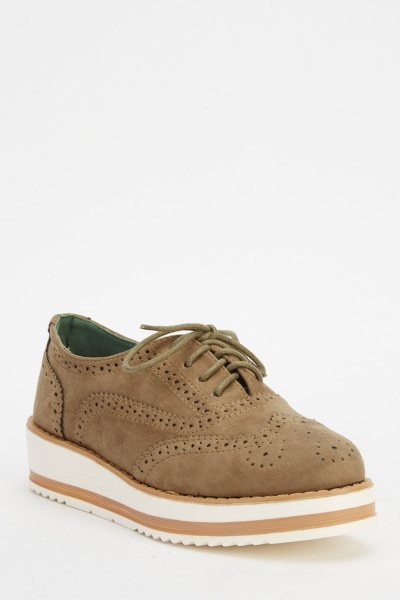 Laser Cut Suedette Brogue Shoes