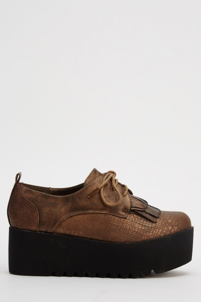 Mock Croc Platformed Brogue Shoes