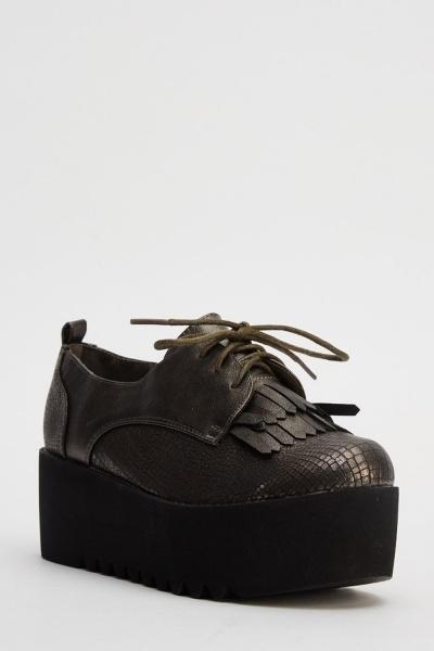 Mock Croc Platformed Brogue Shoes