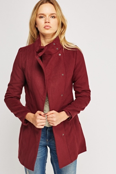 Burgundy Fitted Coat