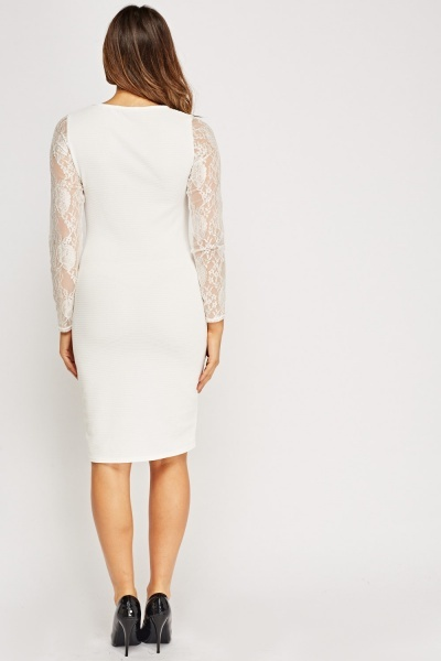 Lace Overlay Textured Dress