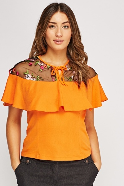 Mesh Insert Embroidered Frilled Top