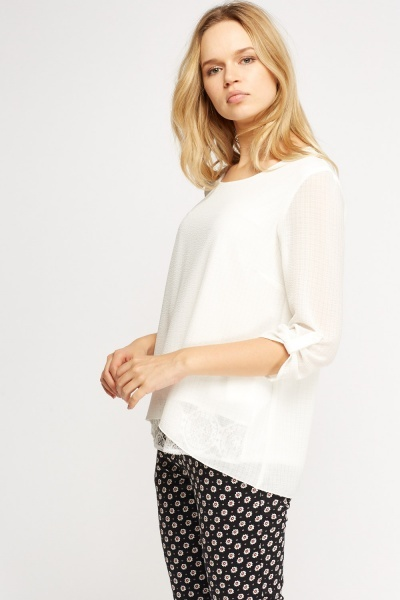 Insert Lace Textured Top