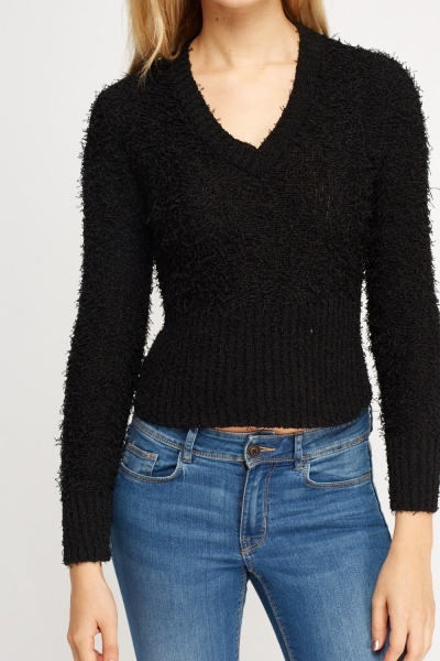 V-Neck Eyelash Jumper