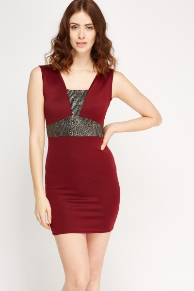 Metallic Insert Bodycon Dress