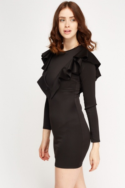 Ruffled Long Sleeve Bodycon Dress