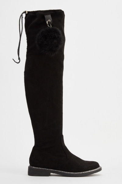 Truffle Pom Pom Side Suedette Knee High Boots
