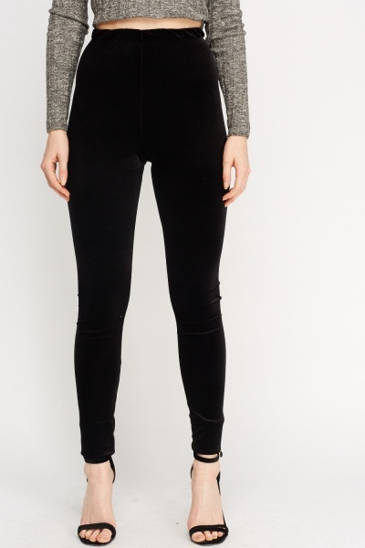 Velveteen Black Leggings