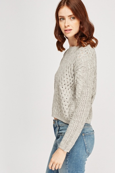 Cable Knit Button Back Jumper