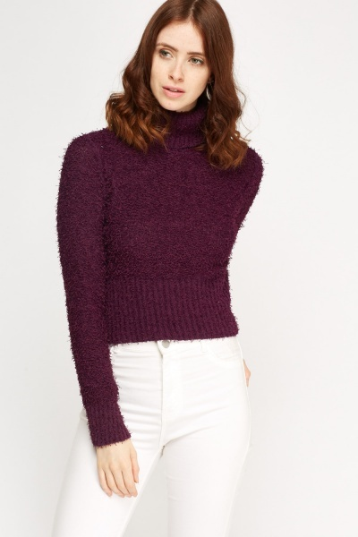 Eyelash Cropped Turtle Neck Jumper