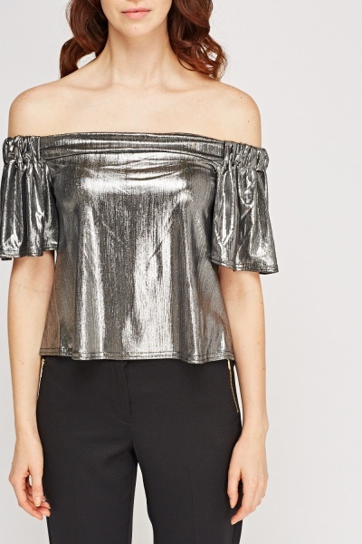 Metallic Off Shoulder Top