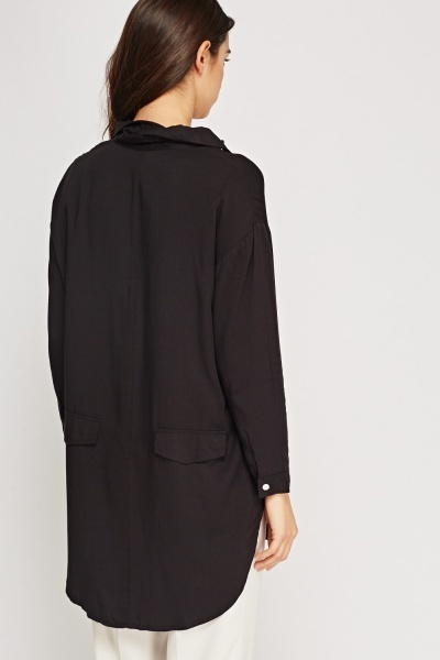 Black Casual Longline Shirt