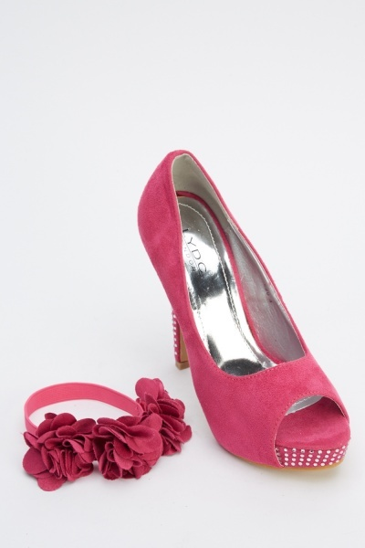 LYDC London Diamante 3D Flower Strap Heels