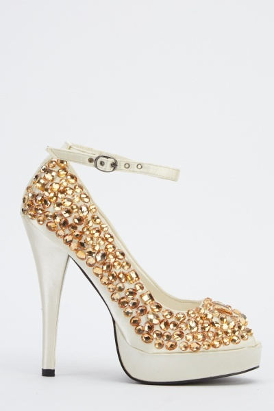 LYDC London Gem Peep Toe Heels