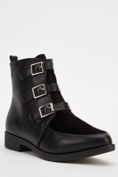 Court Buckled Ankle Boots