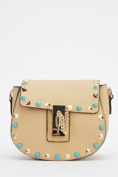 Embellished Studded Small Faux Leather Bag